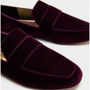 Zara Burgundy Velvet Loafers
